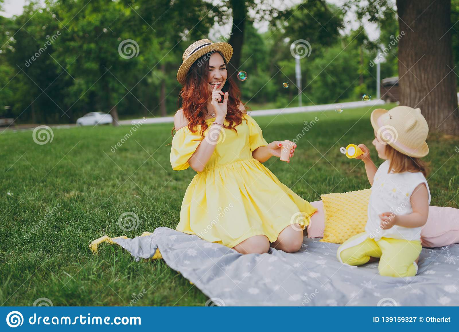 Happy Woman In Yellow Dress Play, Rest In Park Have Fun