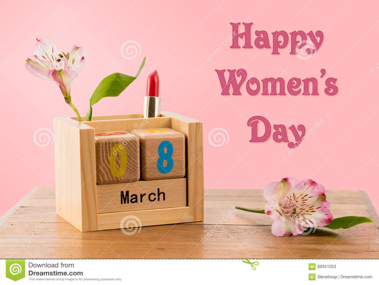 Happy Womens Day background with calendar and blossom