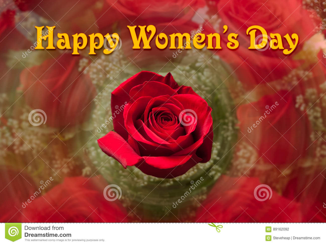 Happy Womens Day background with red rose