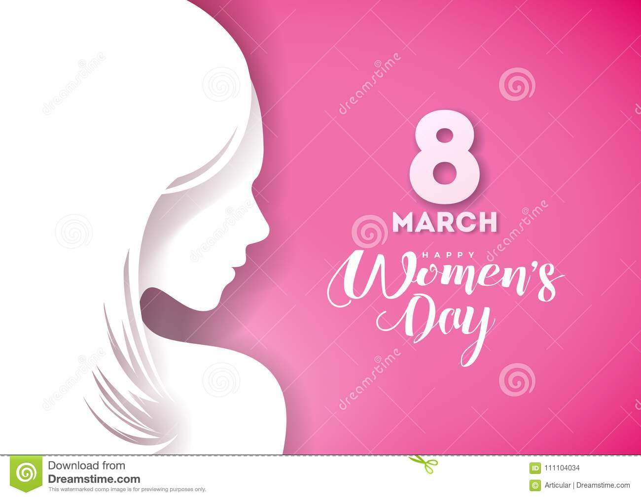 Happy Womens Day Greeting Card Design With Young Woman Silhouette