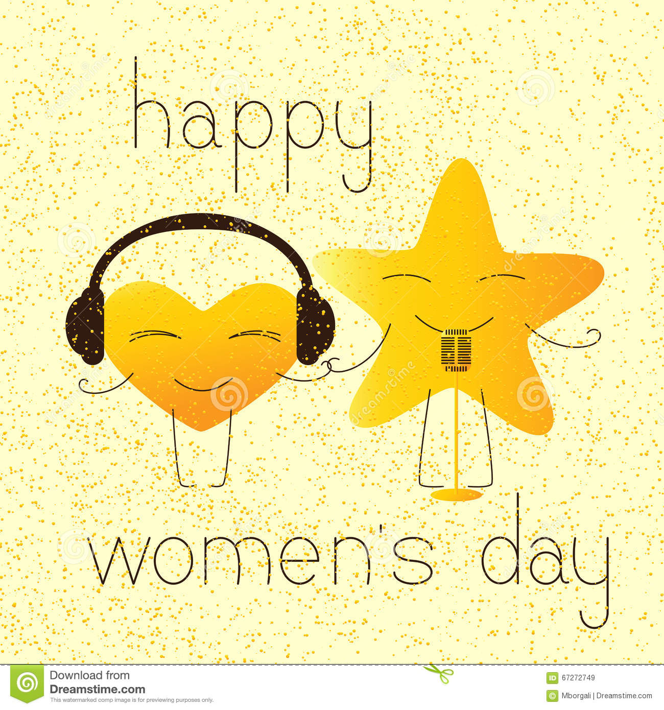Happy Womens Day Greeting Card With Musical Characters Illustration