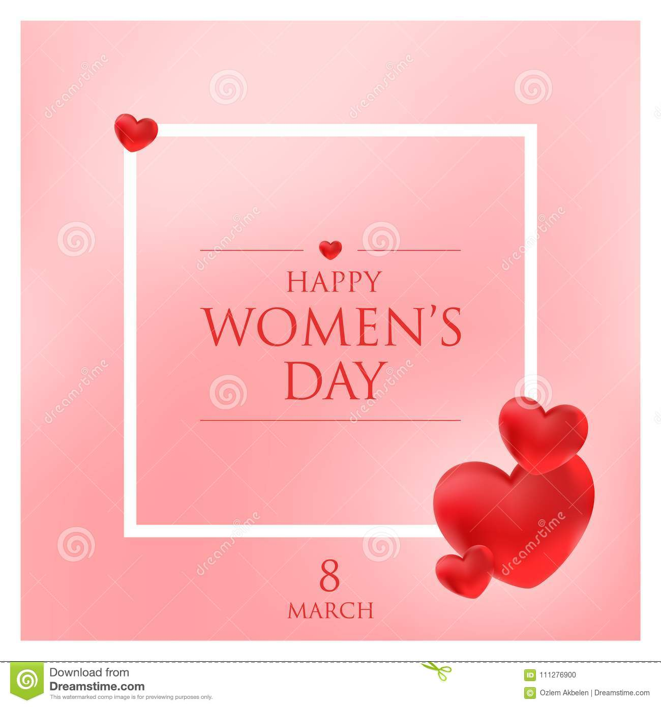 Happy Womens Day Greeting Card Vector Illustration Stock Vector