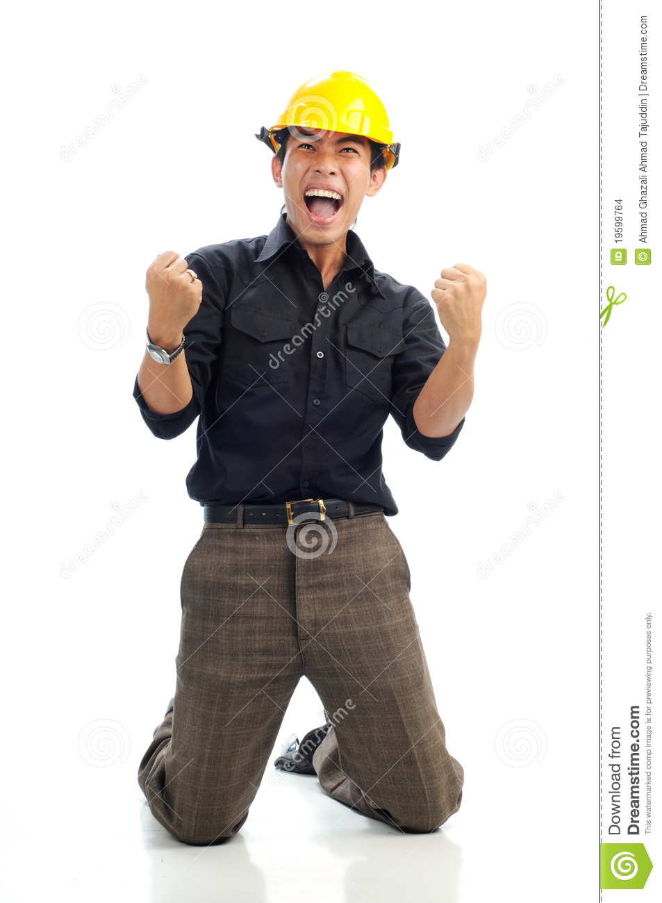 Happy Workers Sit Down On Knee With Excited Stock Photo