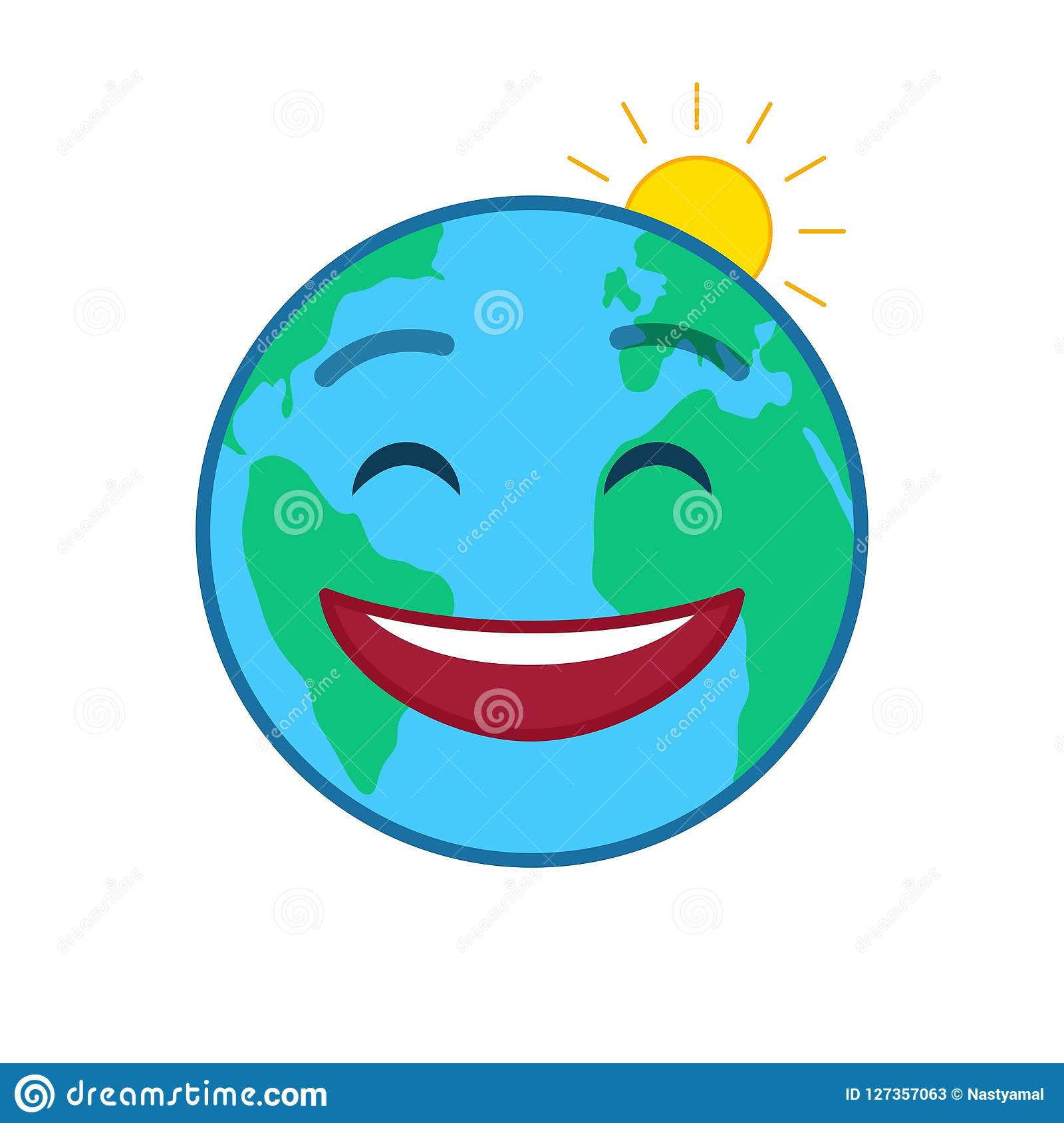 Happy World Globe Isolated Emo...