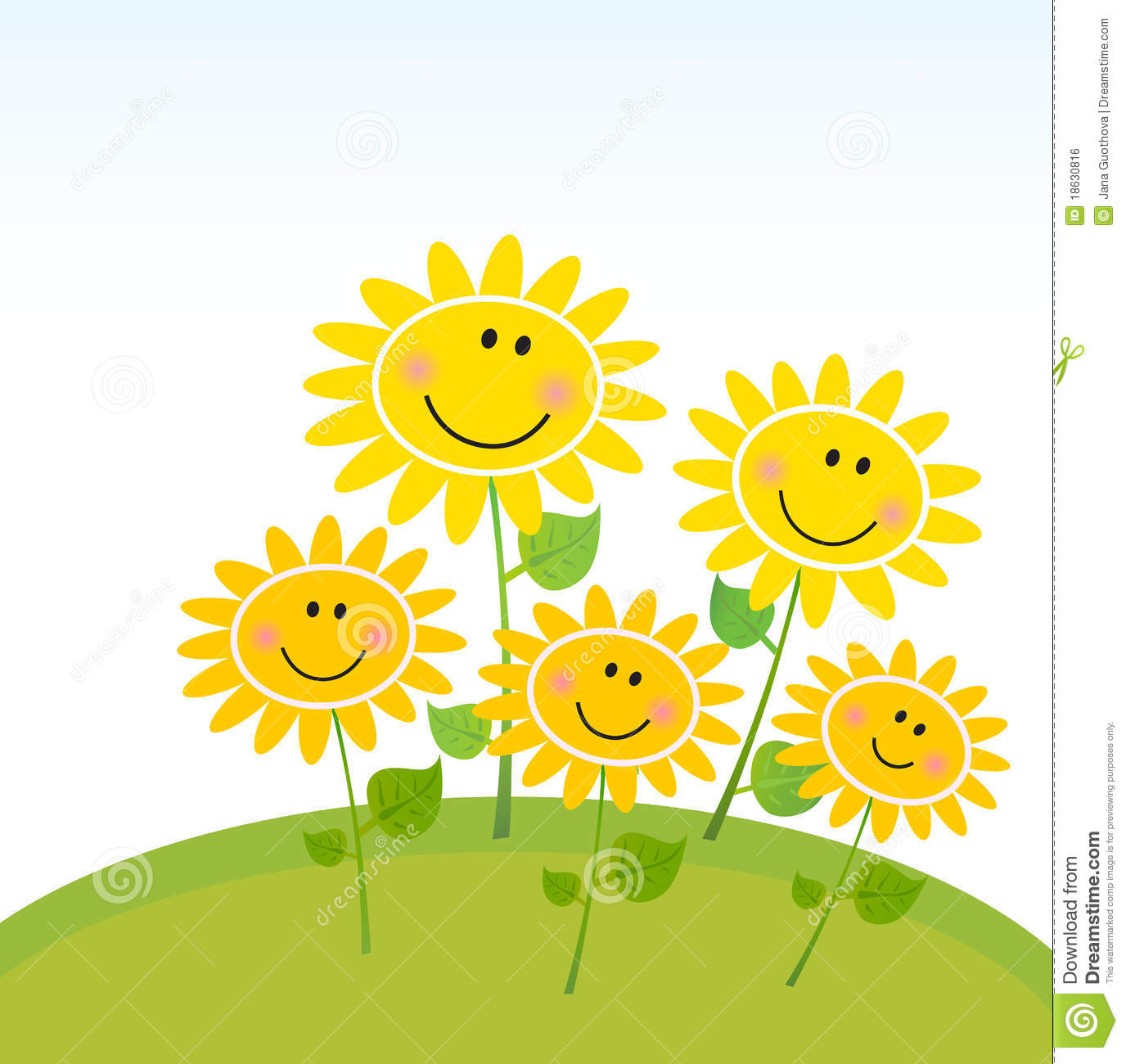 Royalty Free Stock Image: Happy Yellow Spring Sunflowers ...