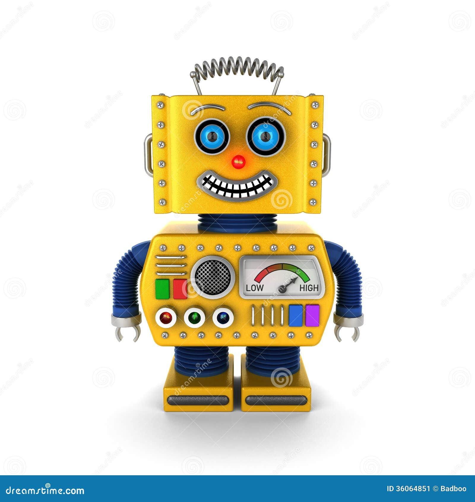 happy yellow vintage toy robot smiling stock image image
