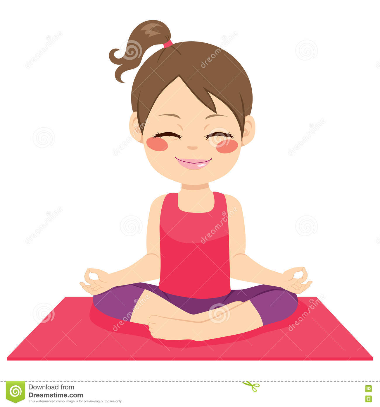 Happy Yoga Girl Stock Vector Image Of Person Ponytail