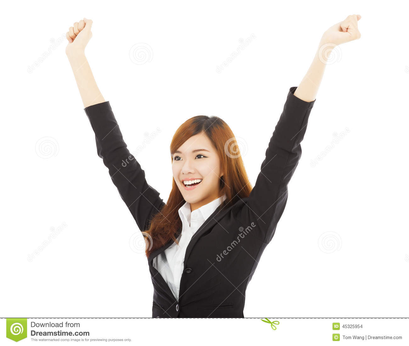 Happy Young Asian Business Woman With Success Gesture ...