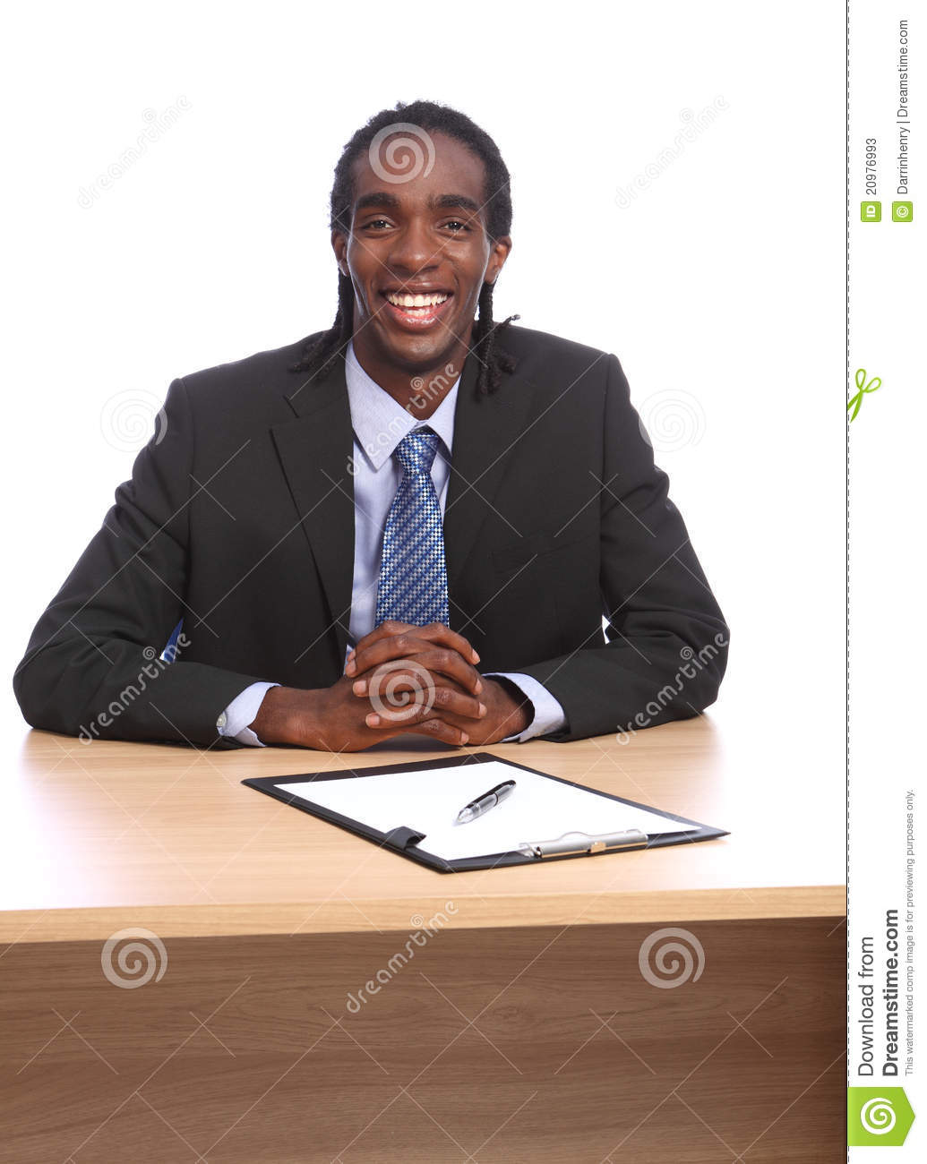 Young Happy Smiling African American Black Teen Girl With: Happy Young Black Businessman Sits To Office Desk Stock