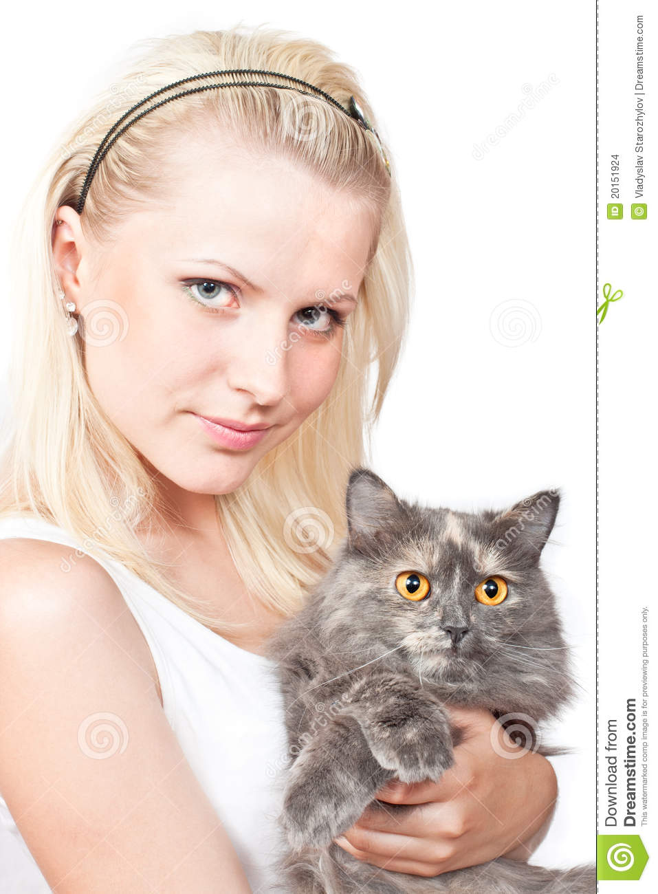 Young Happy Smiling African American Black Teen Girl With: Happy Young Blonde Girl And Grey Cat Stock Photo