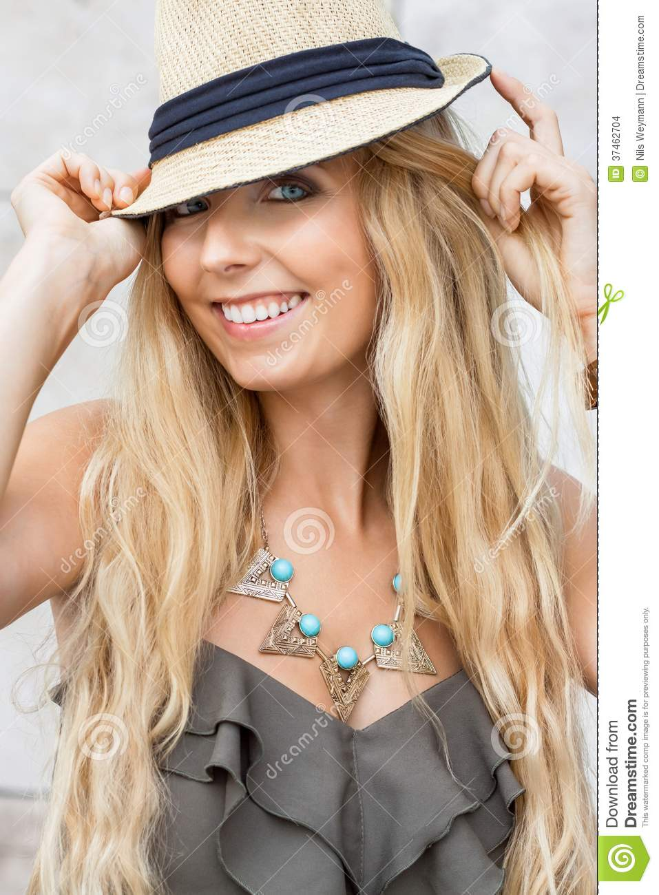 happy young blonde woman with hat outdoor summertime stock images image 37462704. Black Bedroom Furniture Sets. Home Design Ideas