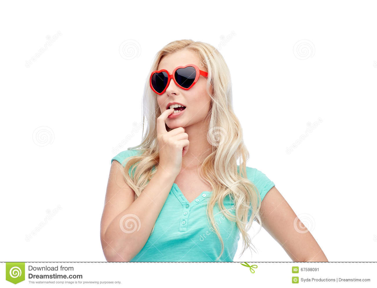 Of blond teen holding sunglasses get you