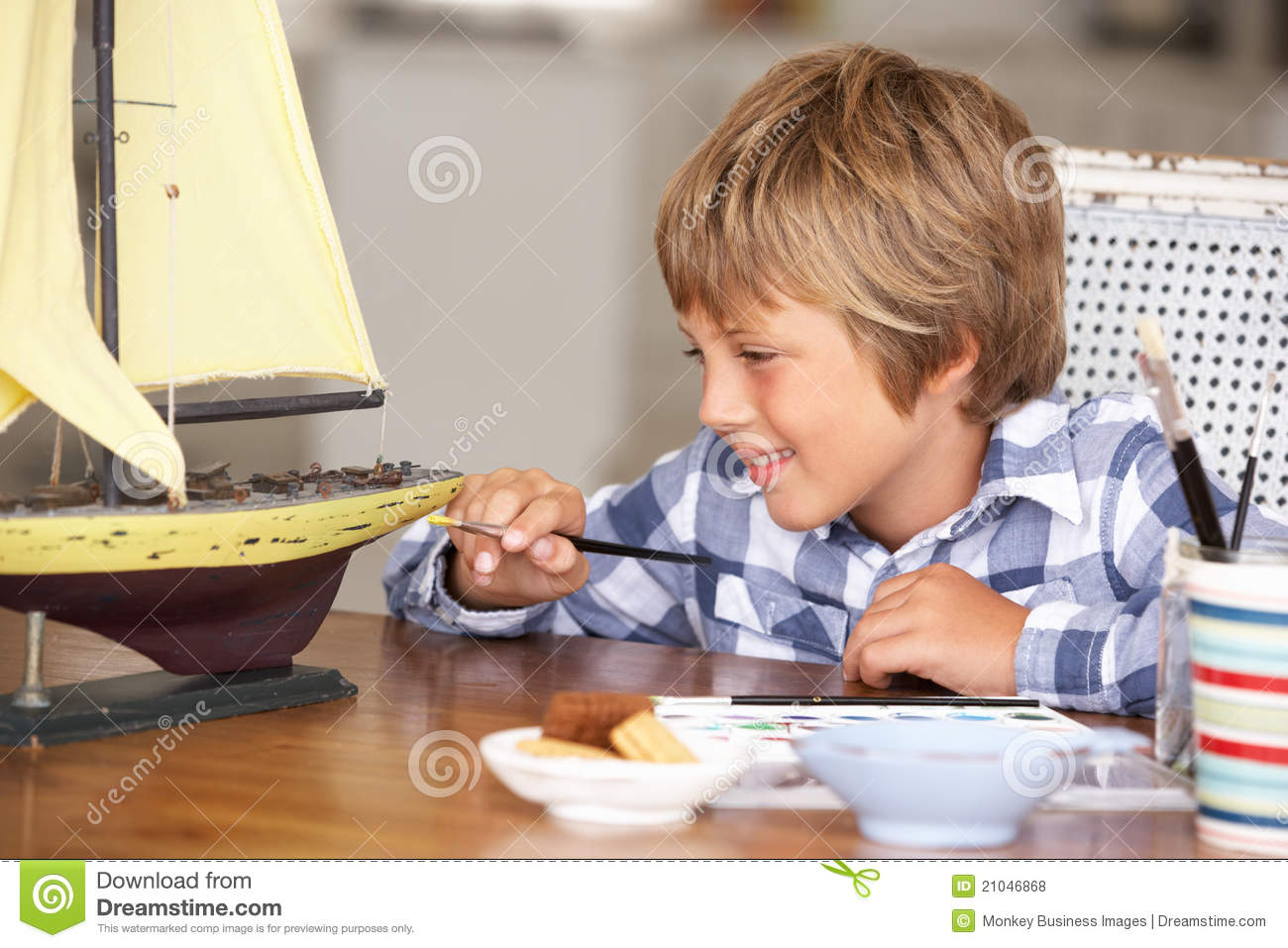Happy Young Boy Making Model Ship Royalty Free Stock Photos ...