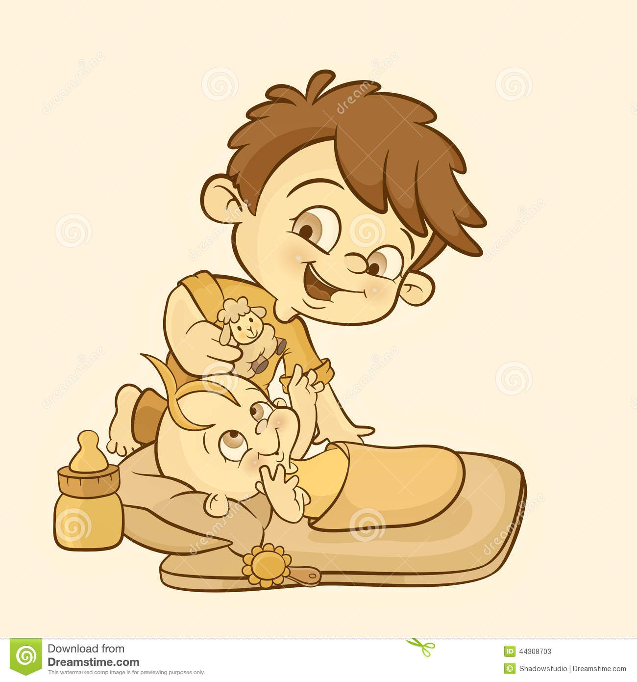 happy young boy playing and caring of his baby sis stock Anime Businessman Happy Birthday Clip Art