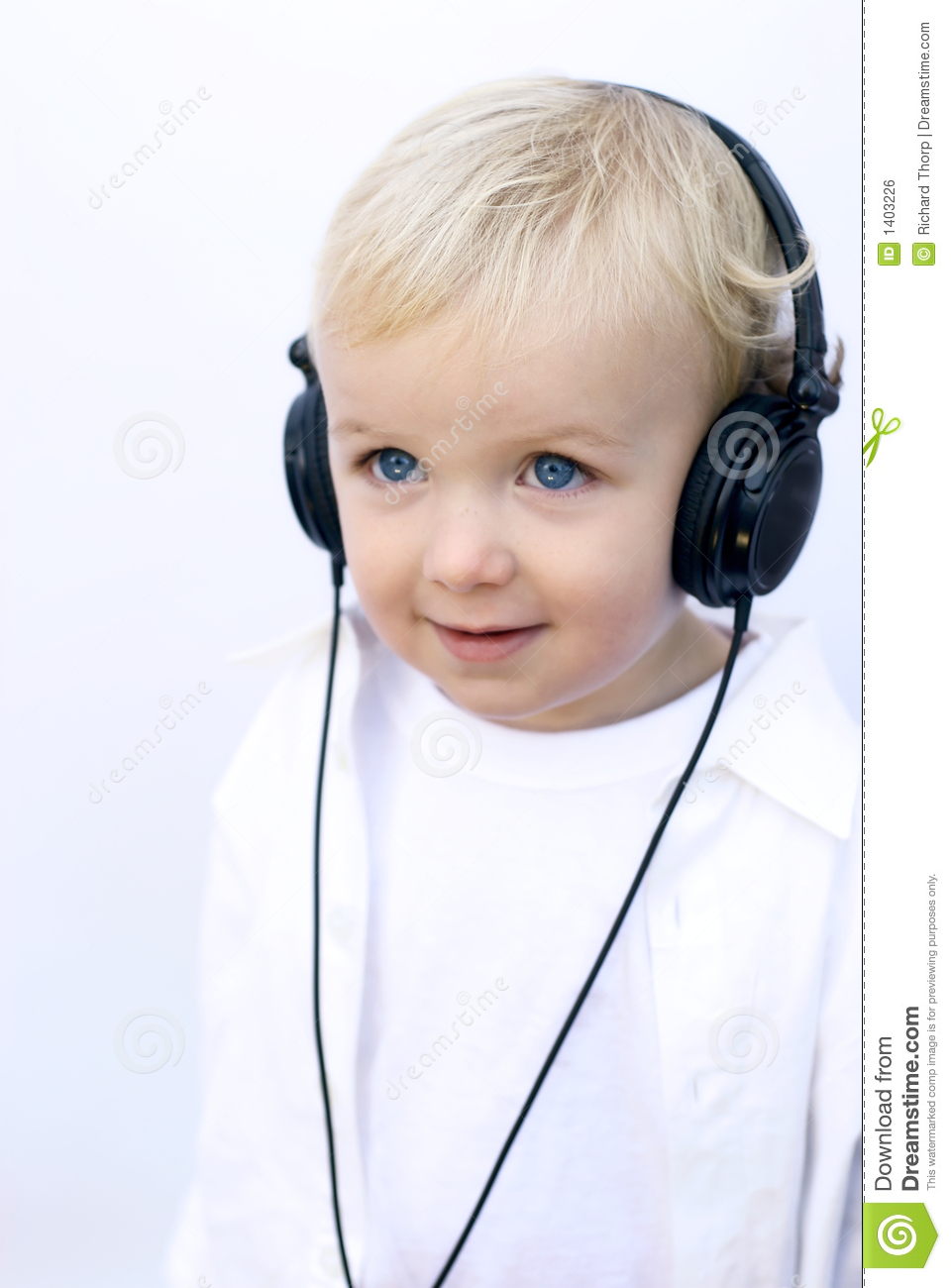 Young Happy Smiling African American Black Teen Girl With: Happy Young Boy Wearing Headphones Stock Photo
