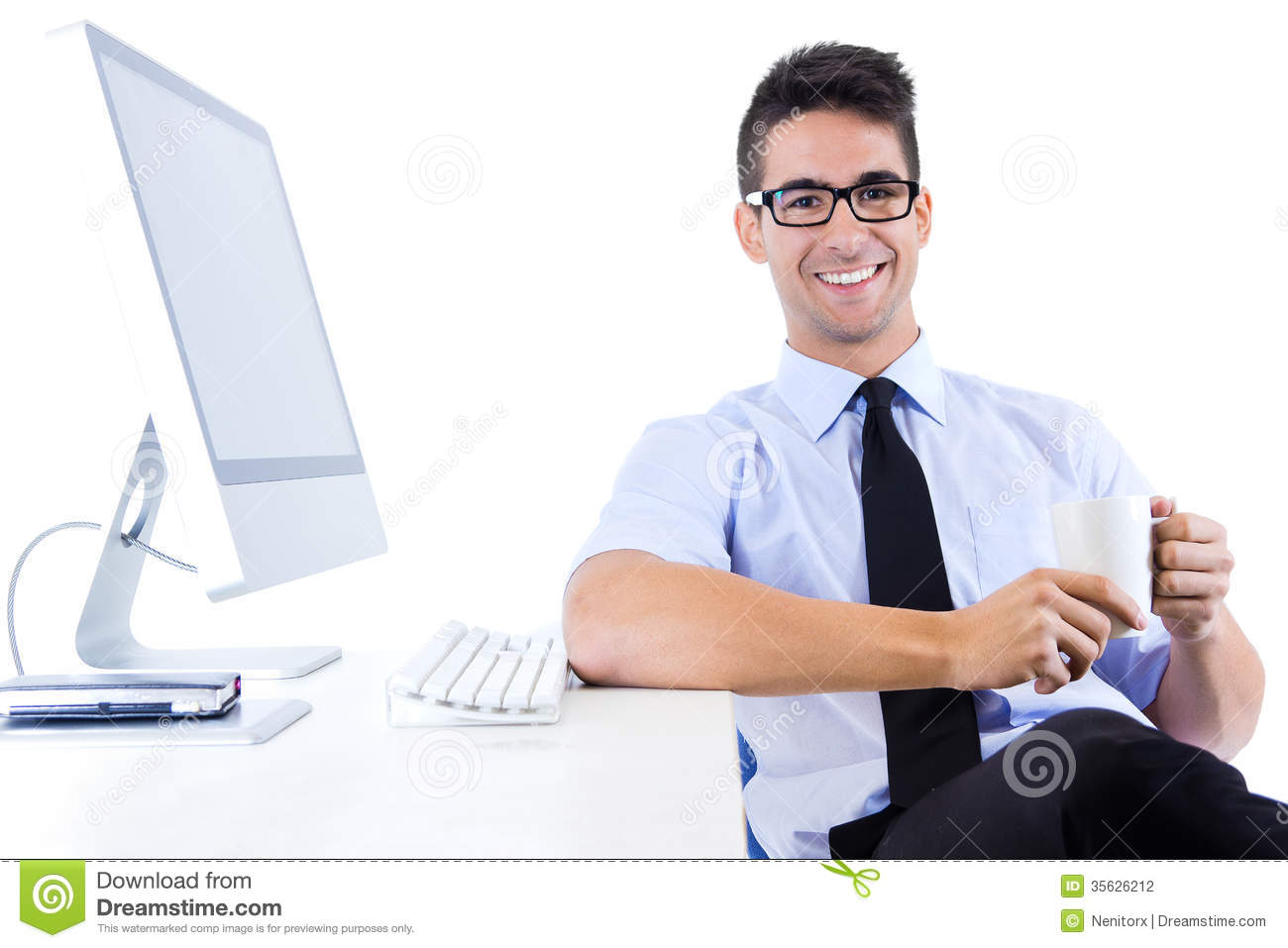 Happy young business man relaxing in modern office stock photo image of alone office 35626212 - Office portrait photography ...