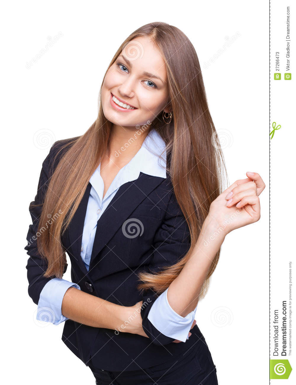 Happy young business woman smiling isolated on whi