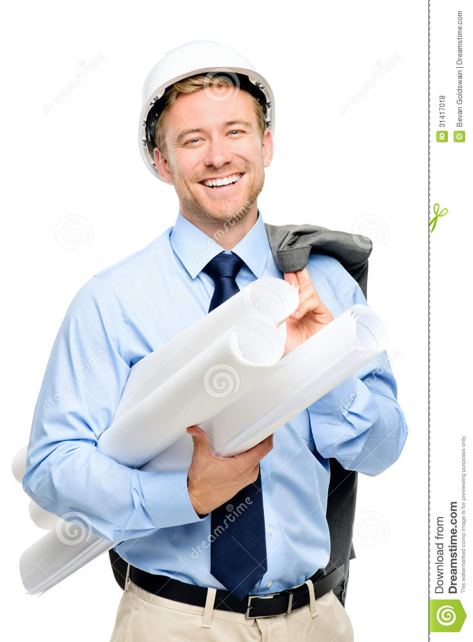 Happy Young Businessman Architect On White Background
