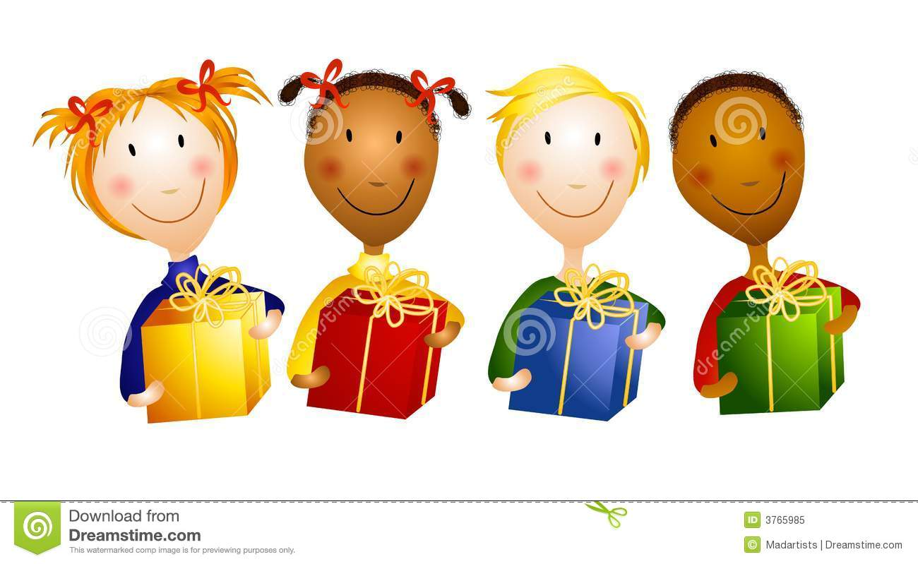 Happy Young Children Holding Gifts Stock Illustration ...