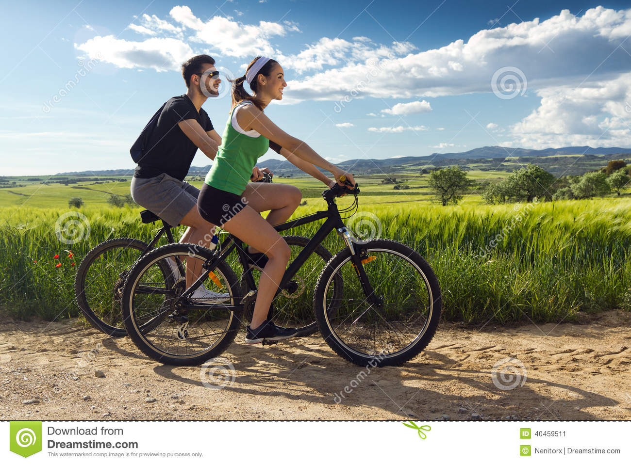 young couple bike stock photos royalty free stock images