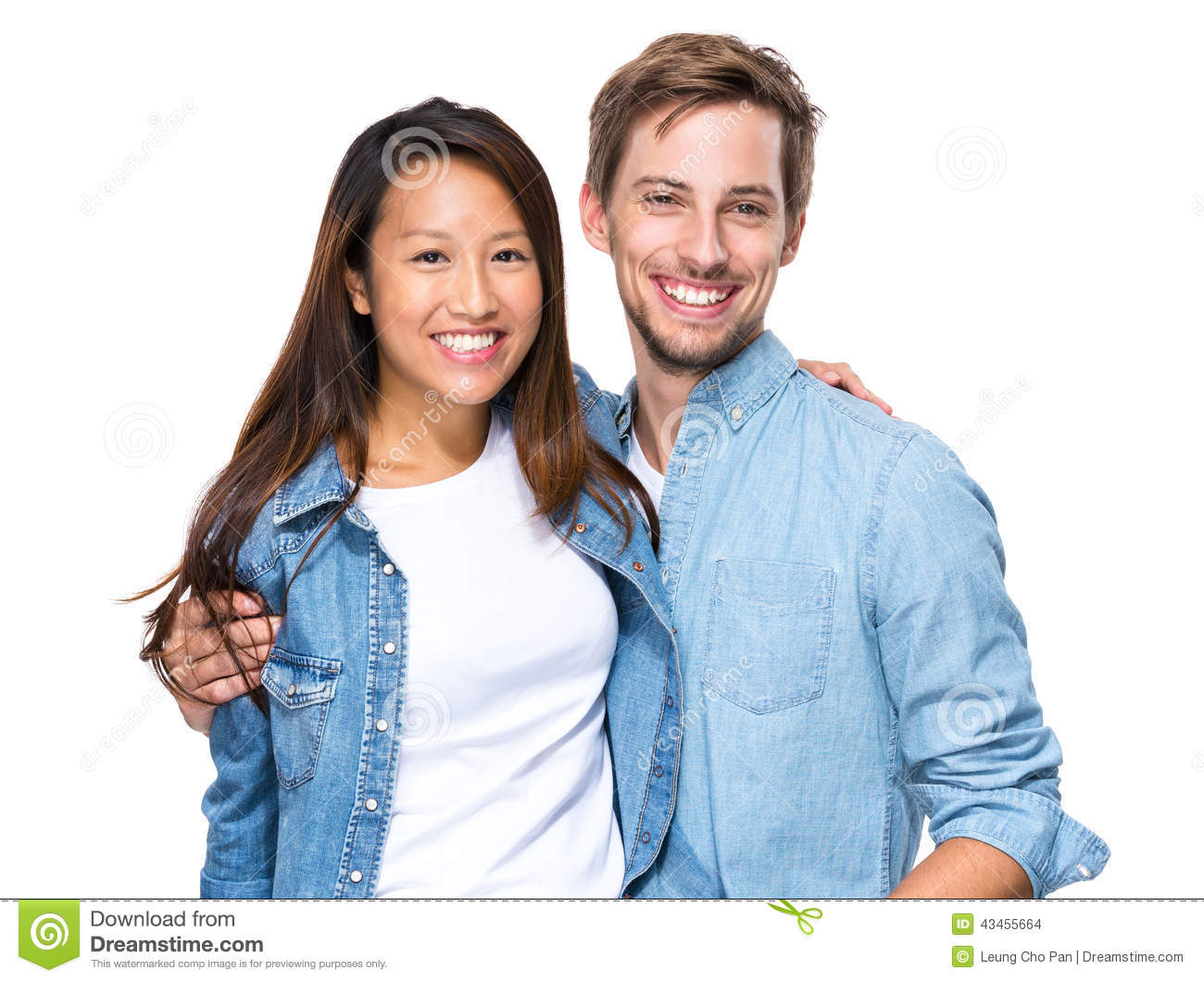 Happy young couple, Chinese and Caucasian