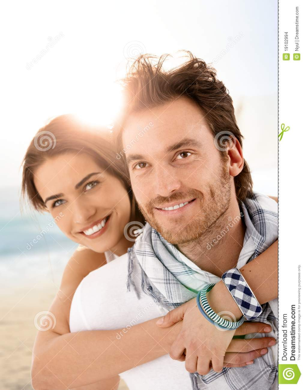 Young Happy Smiling African American Black Teen Girl With: Happy Young Couple Embracing On Summer Beach Stock Images