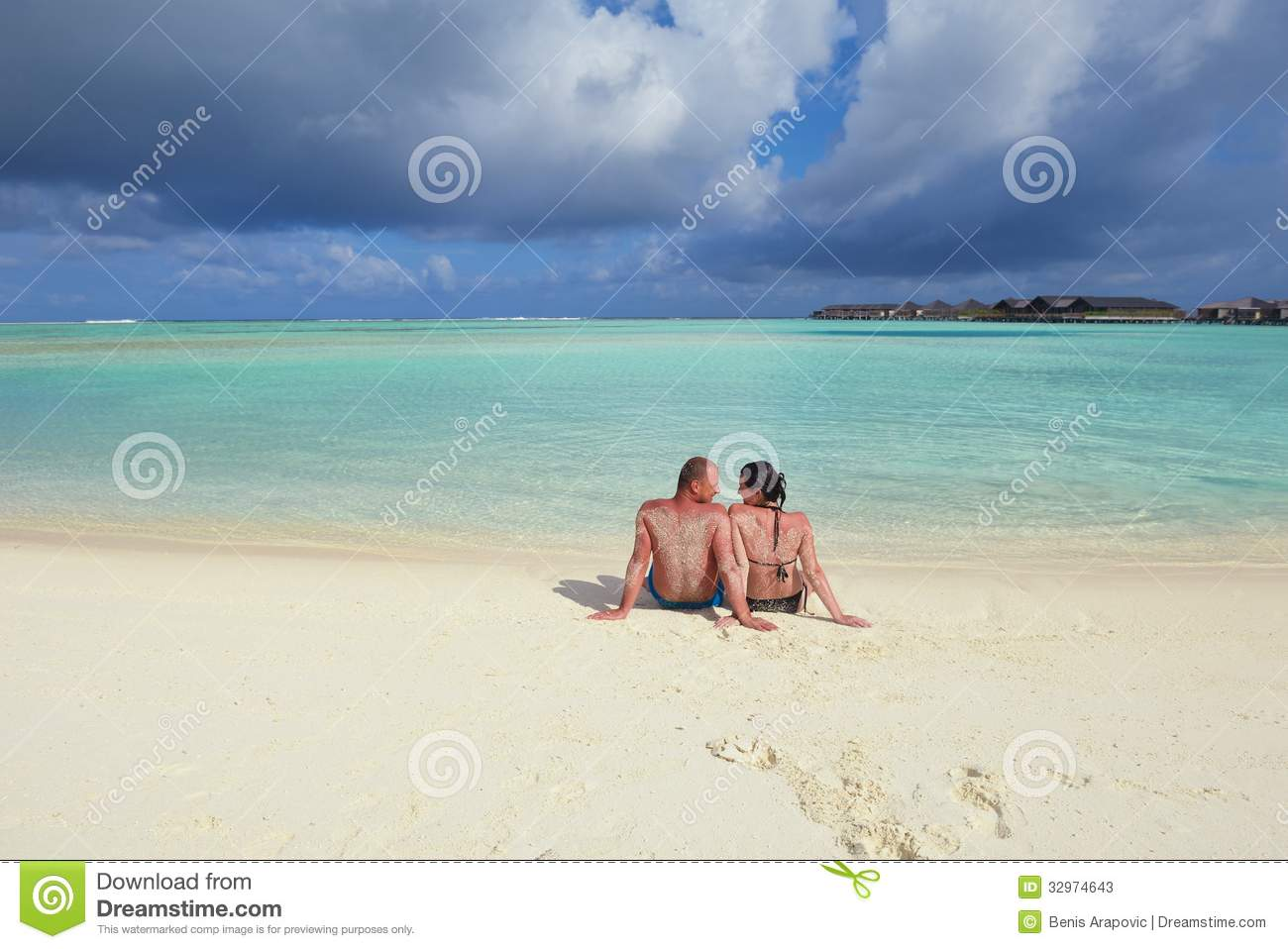 Happy young couple have fun on summer stock photos image for White sand beach vacations