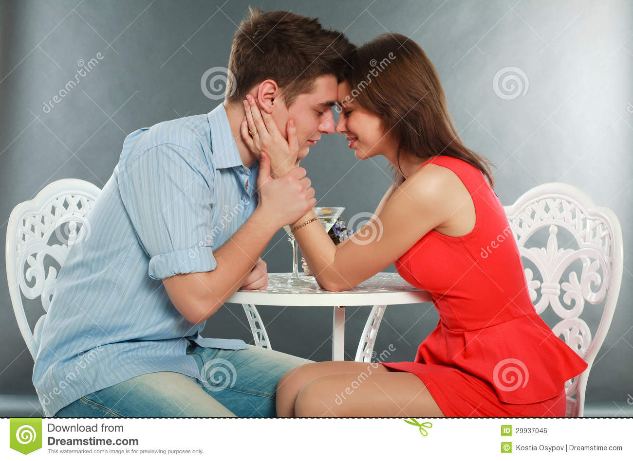 Happy Young Couple Having Romantic Dinner Royalty Free Stock Image