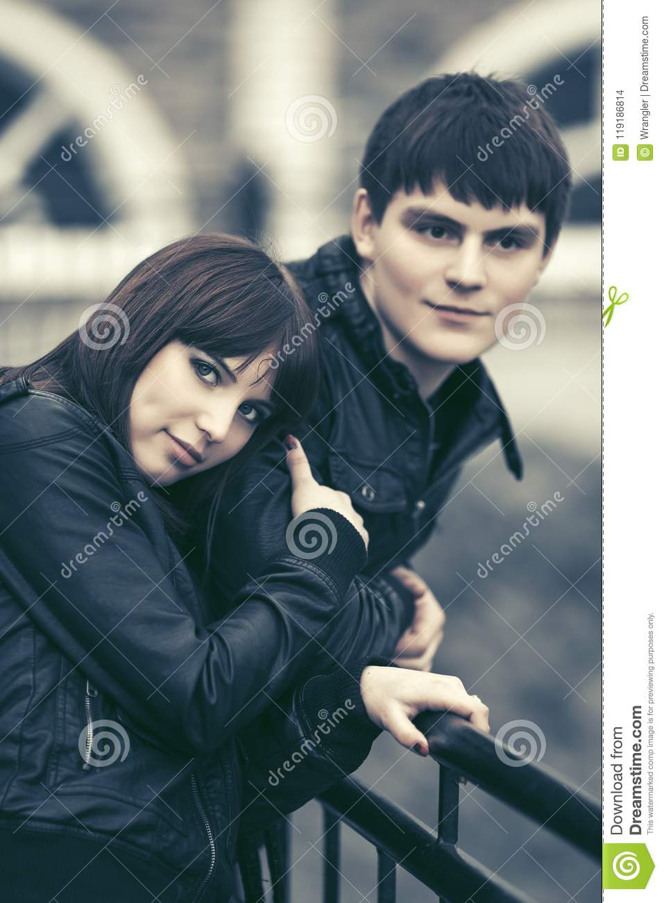 5a755e6f2 Happy Young Couple In Love Hugging In City Street Stock Photo ...