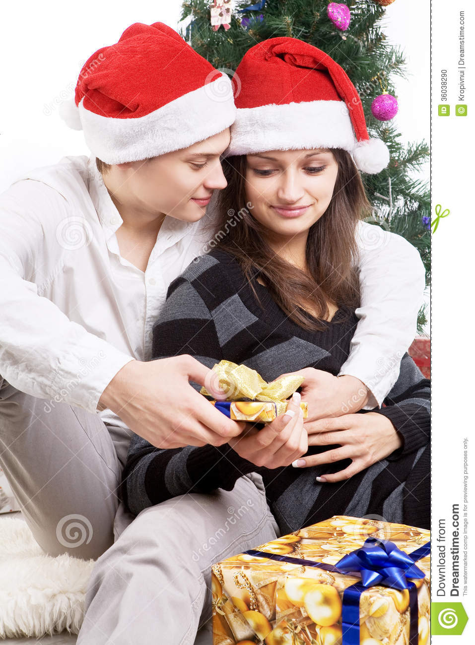 happy young couple in a new year s situation