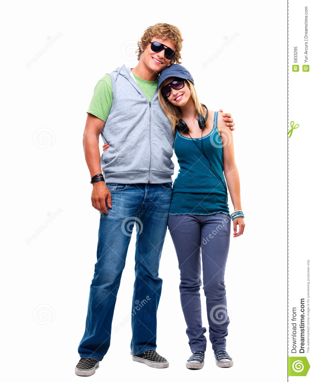 Happy Young Couple Standing Together Stock Image