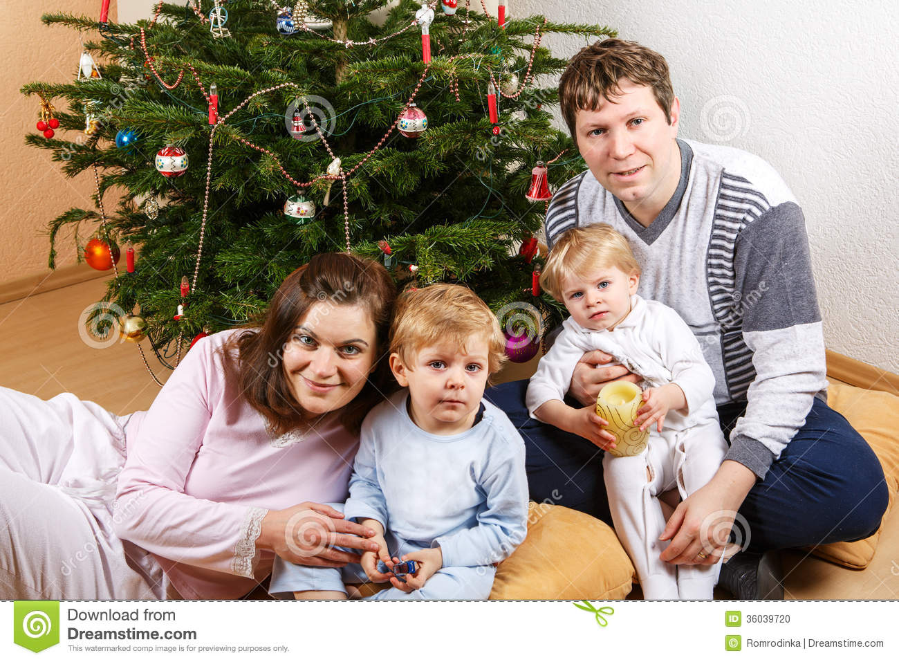four tree young happy christmas preview child