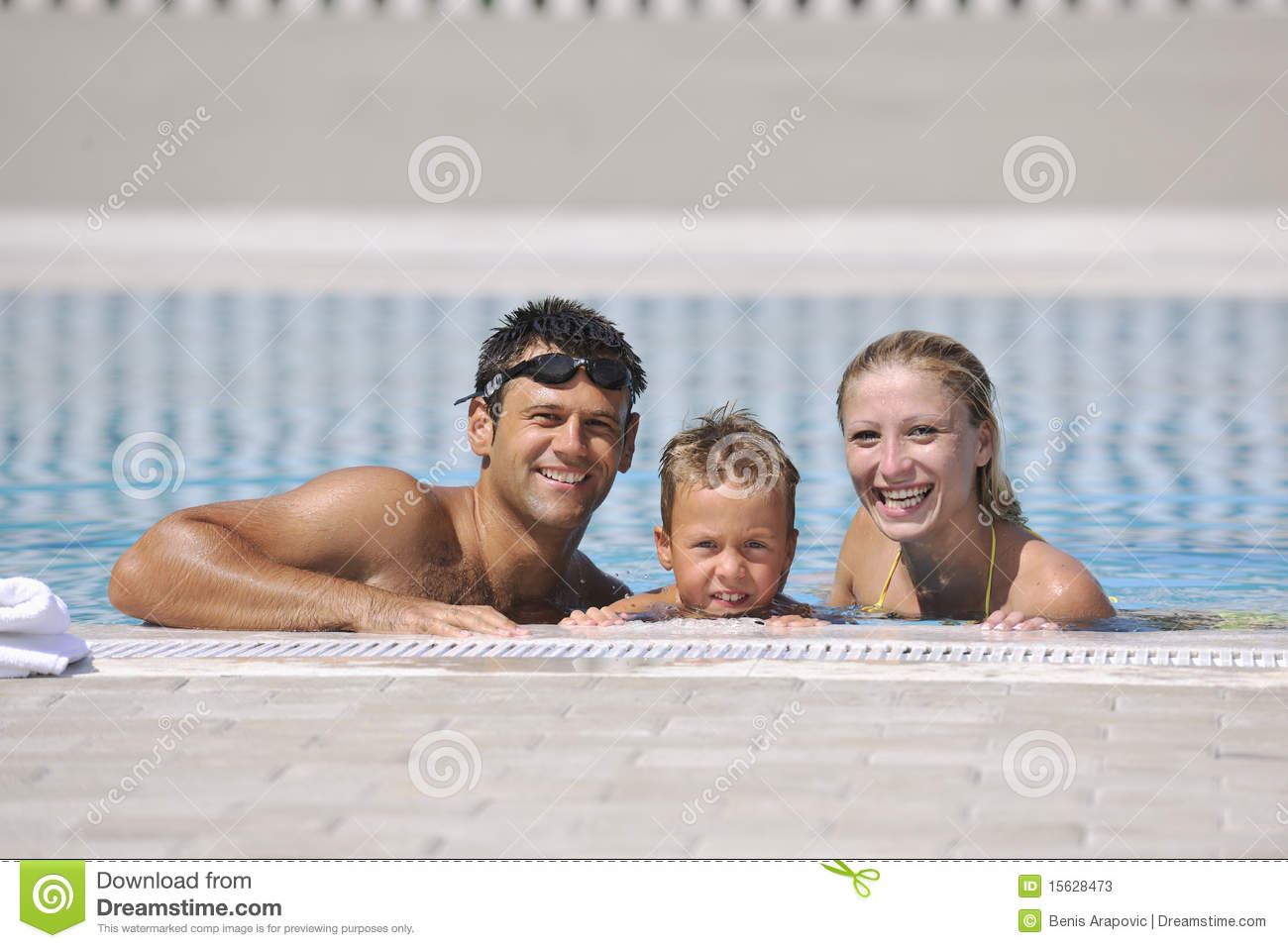 Happy young family have fun on swimming pool stock photos for Family swimming pool