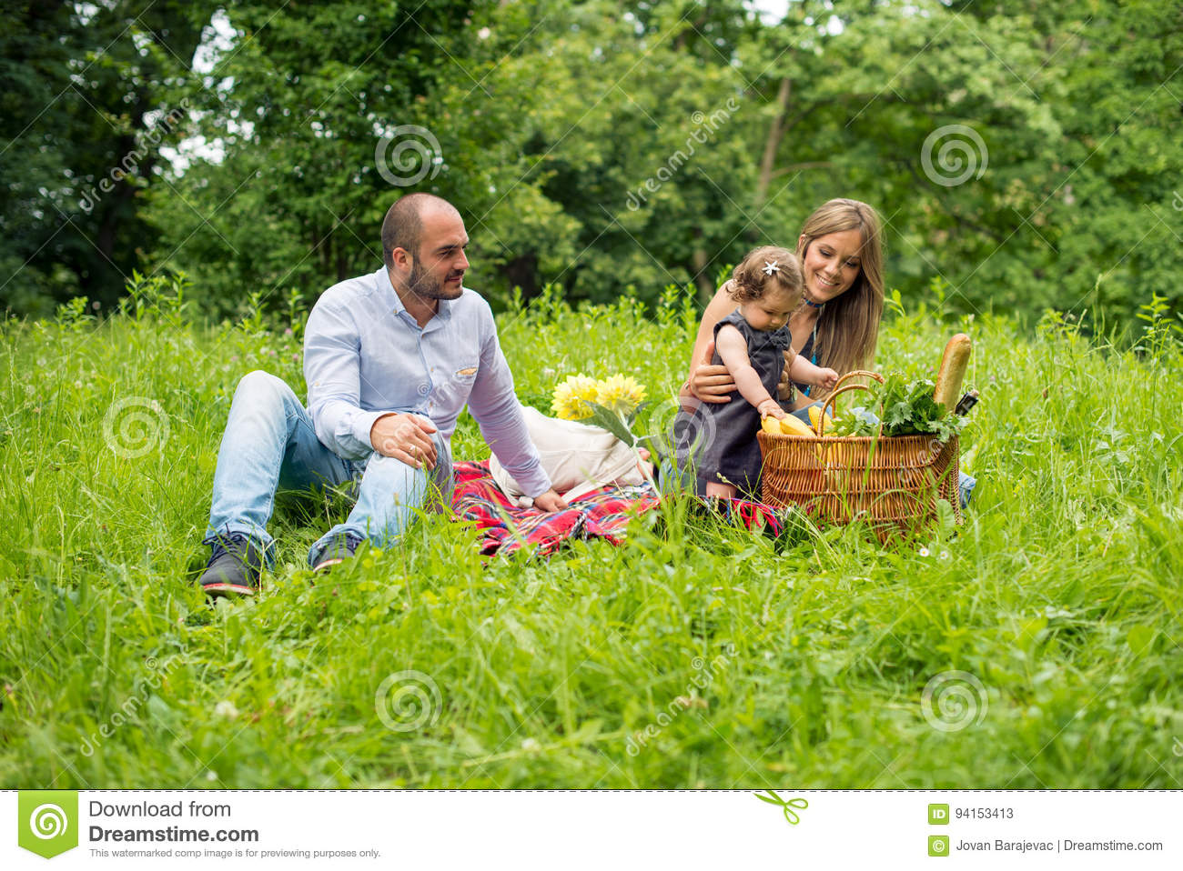 Happy young family having picnic