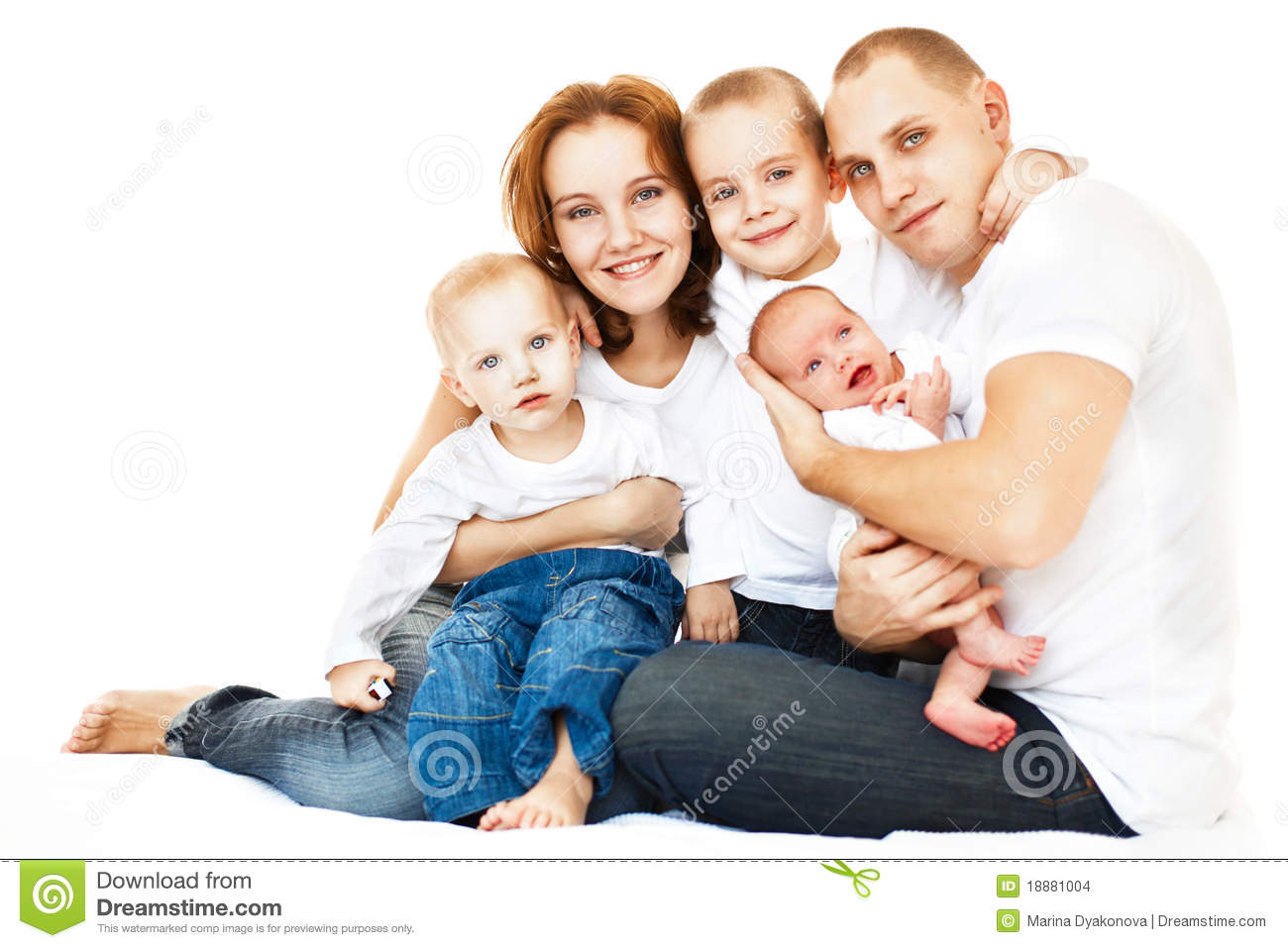 Happy young family over white