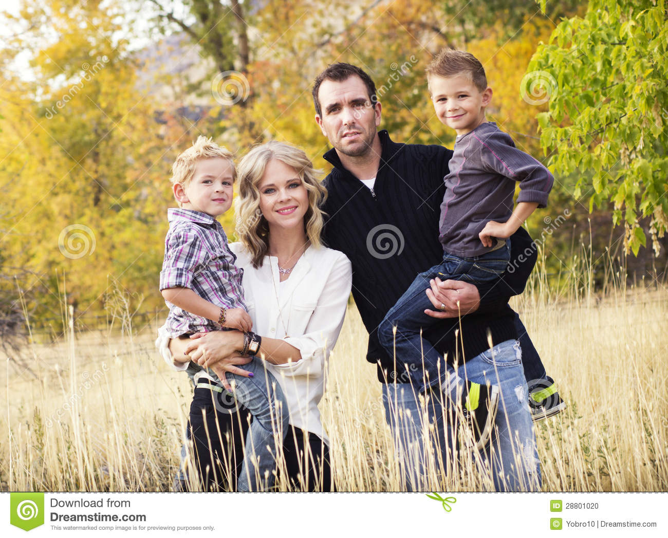 happy young family portrait with fall colors stock photo image of