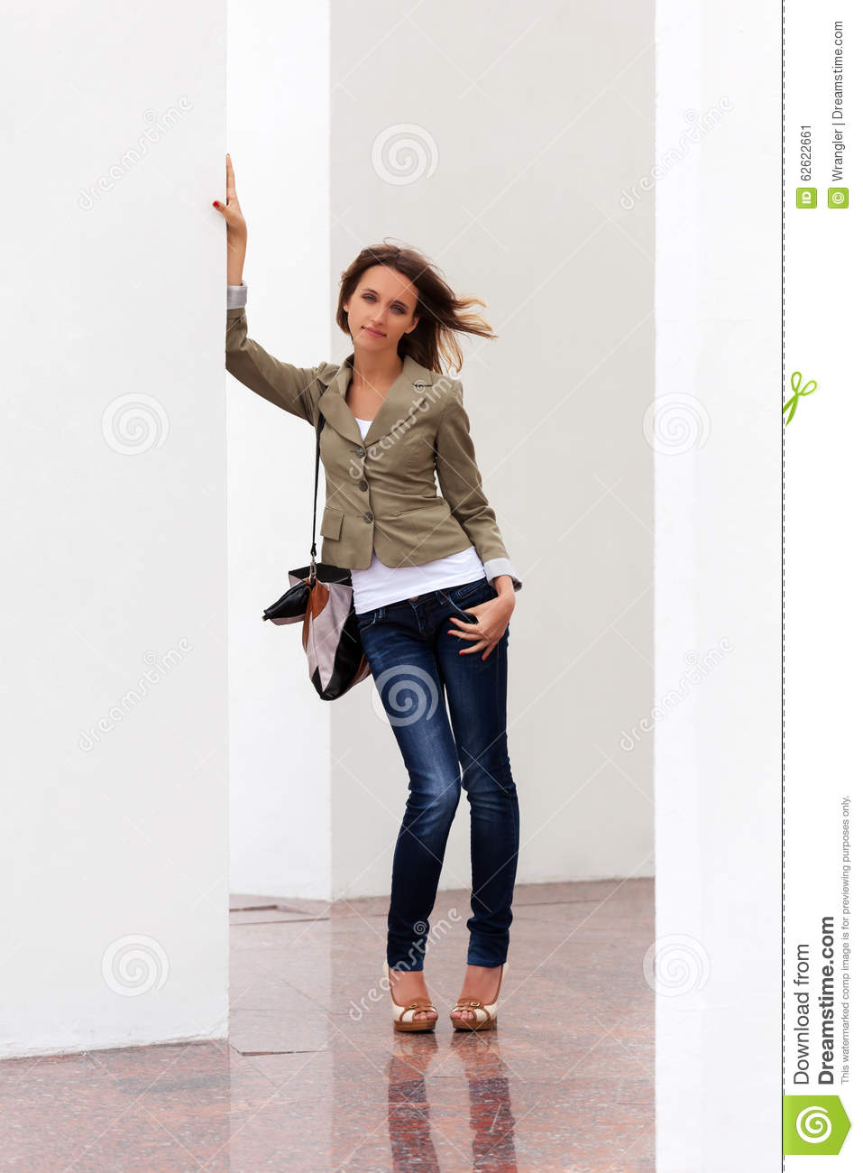 Happy Young Fashion Woman With Handbag Stock Image