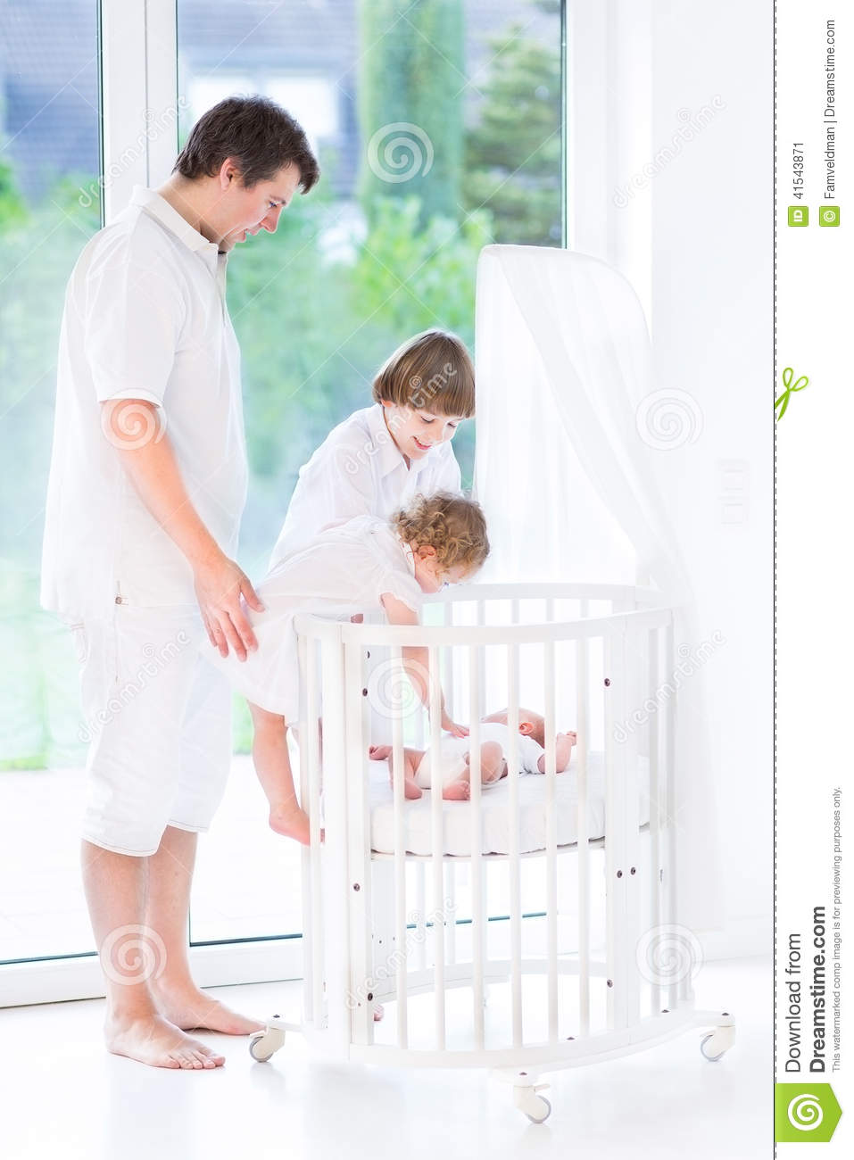 Happy Young Father With His Tree Kids Stock Photo Image