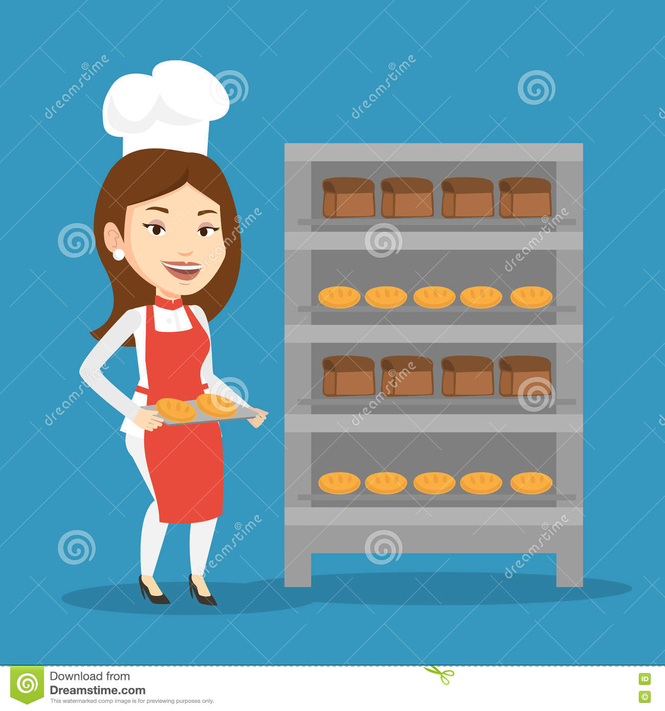 How To Make Kitchen Rack At Home Happy Young Baker Holding A Tray With Bread Cartoon