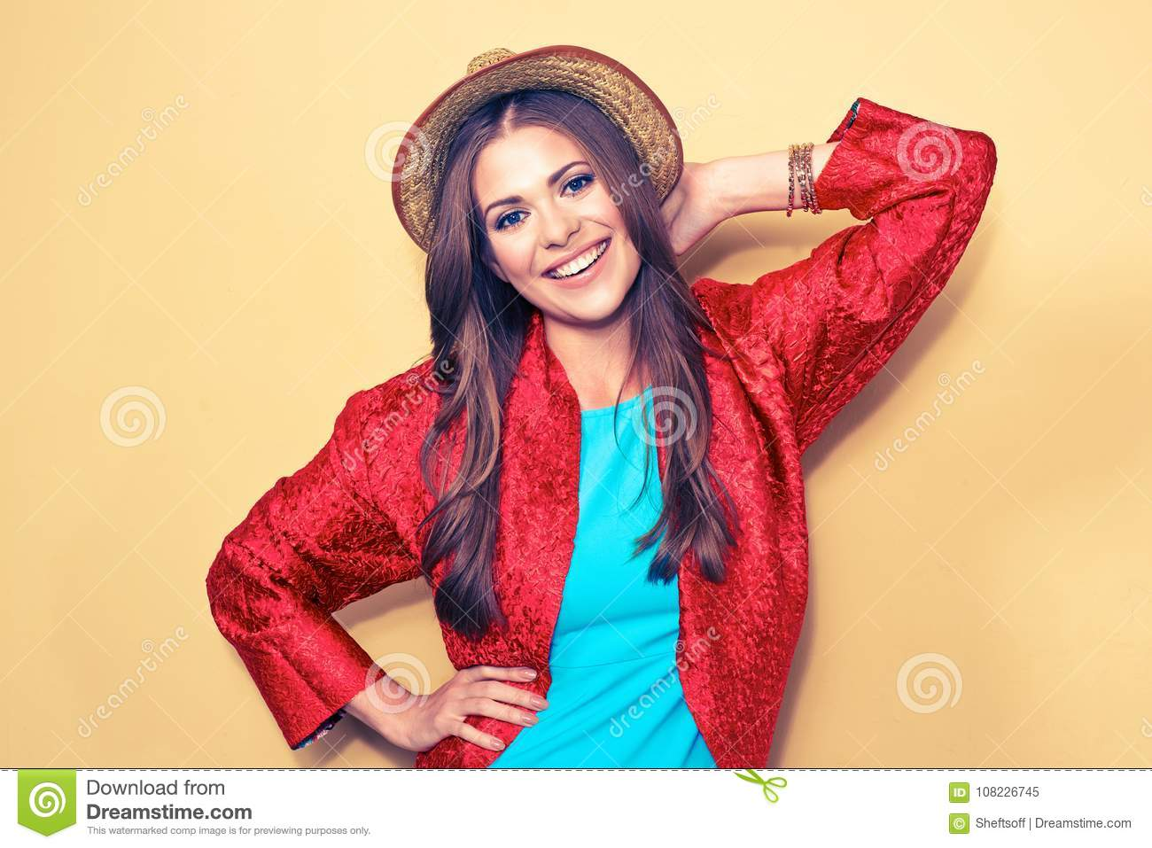 Happy young female model. smiling woman fashion style portrait.