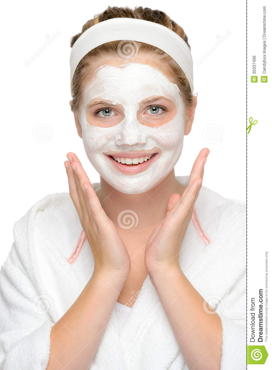 Young Happy Smiling African American Black Teen Girl With: Happy Young Girl Face Mask Smiling Cosmetics Royalty Free