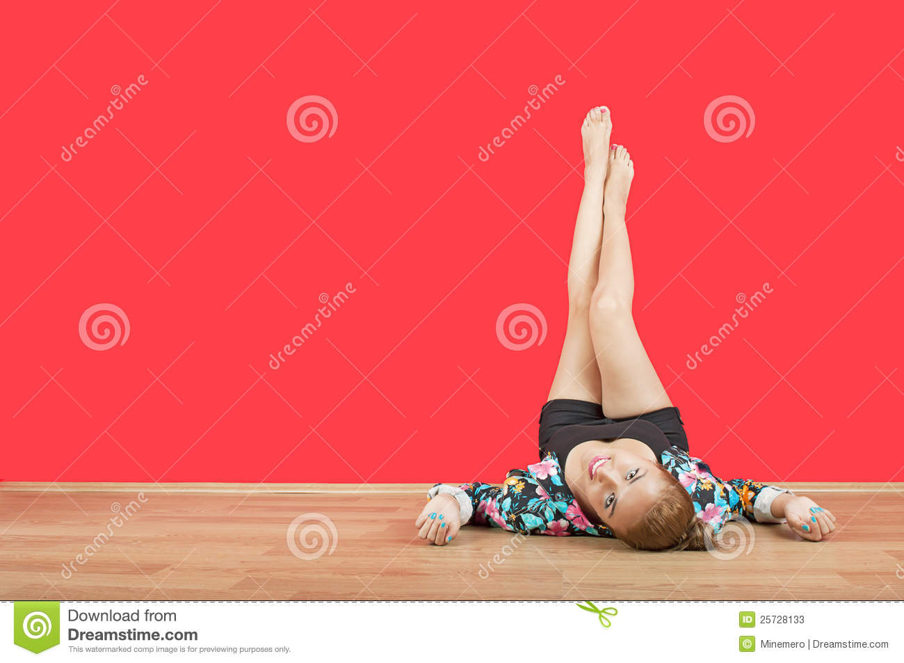 Young girl with legs up