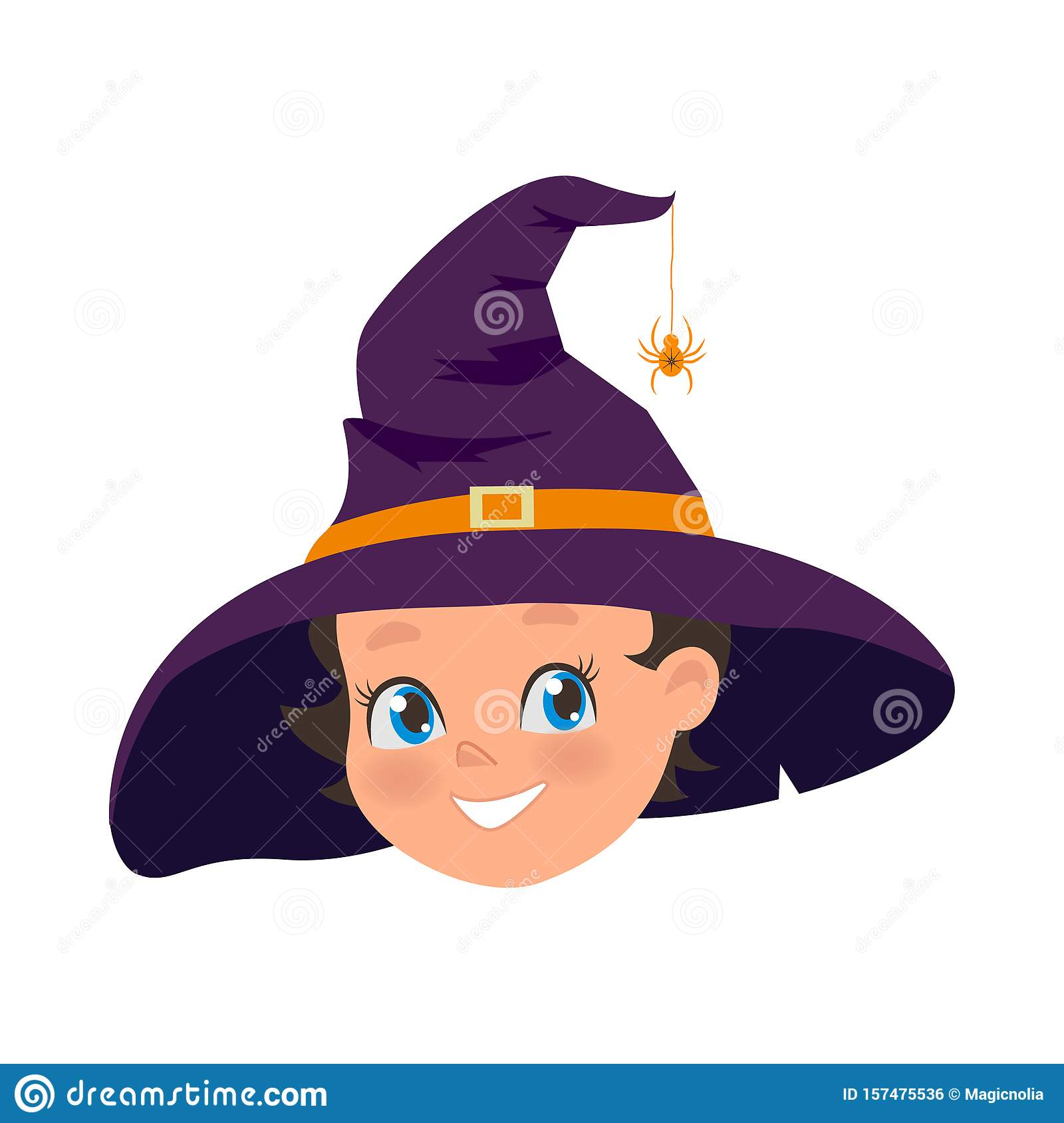 Happy Young girl in old hat and spider on hat. Halloween holiday costume of little witch. Portrait of smiling female