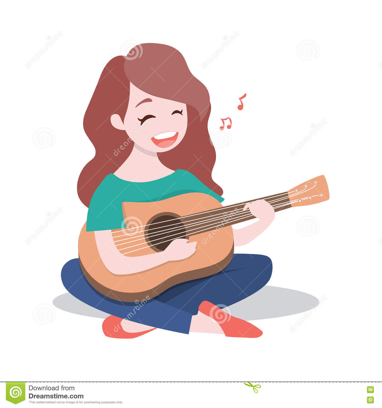 Happy young girl playing the guitar and sing a song, Isolated on white background