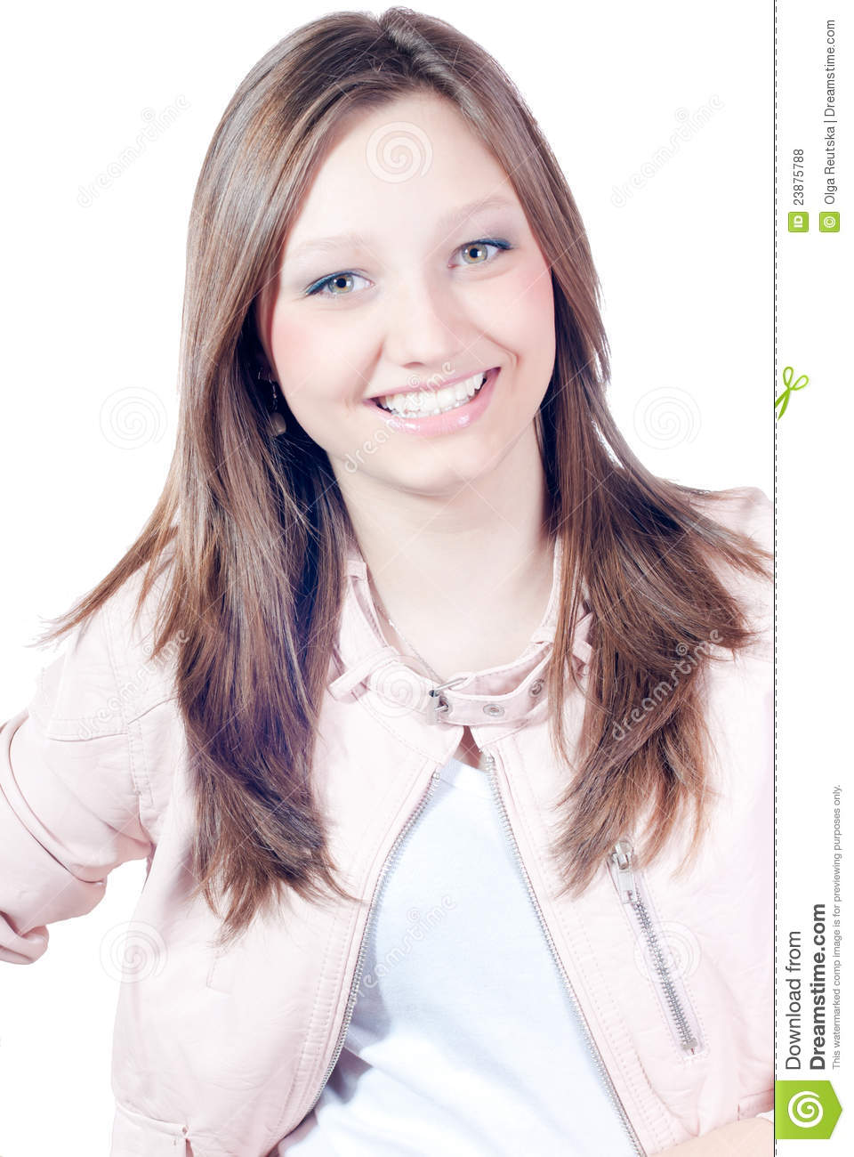 Happy young girl smiling isolated