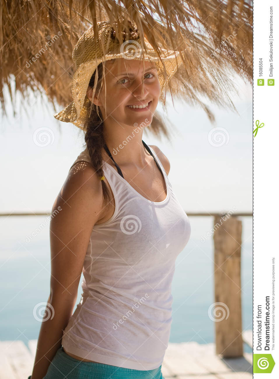 00b894956bec4 Happy Young Girl In White Tank Top Stock Photo - Image of ocean ...