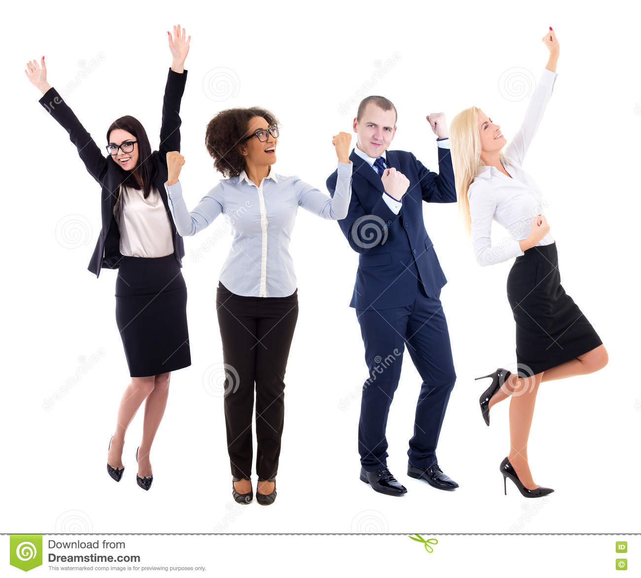 happy young group of business people celebrating something isolated on white