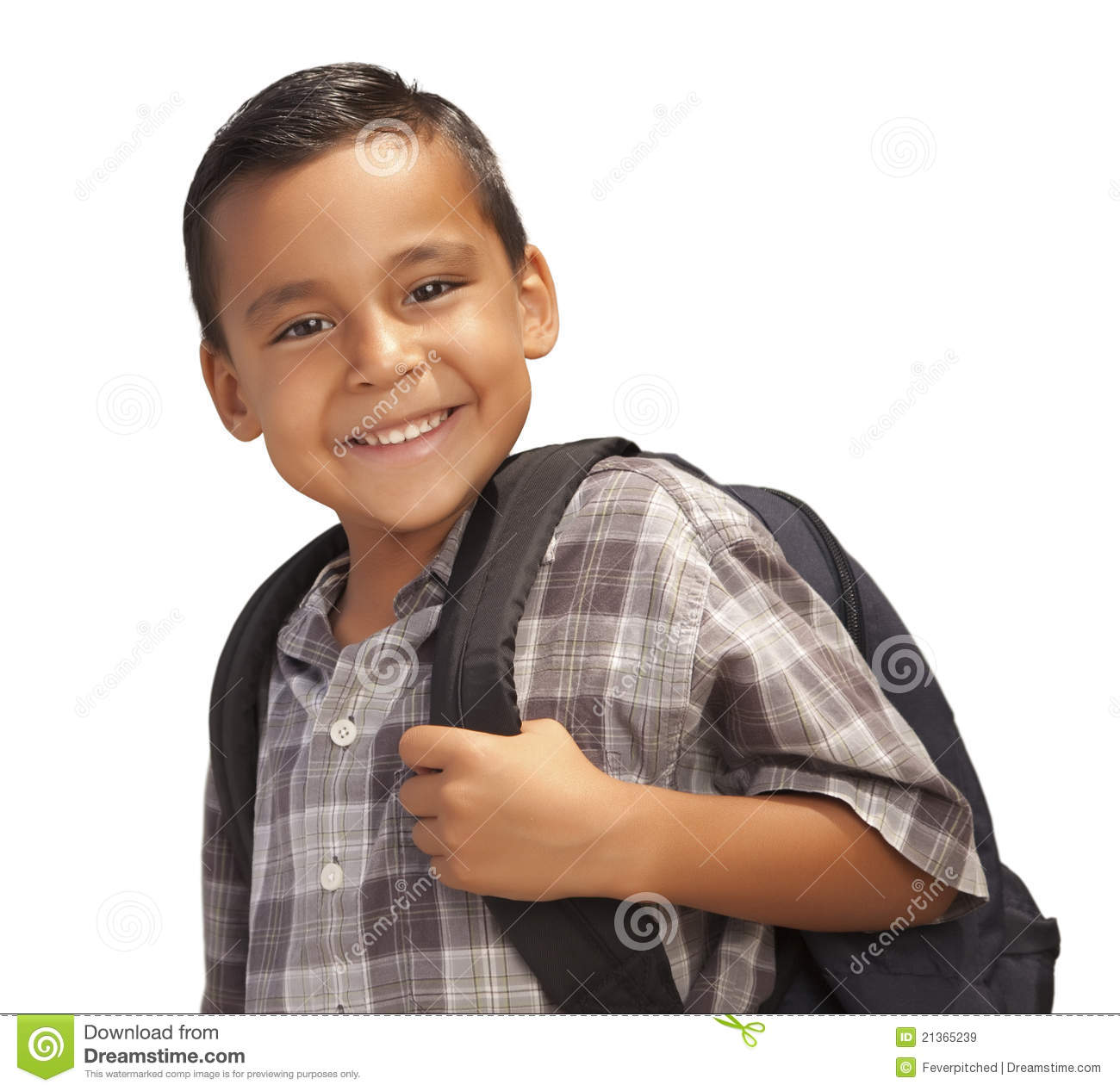 Happy Young Hispanic Boy Ready For School On White Stock