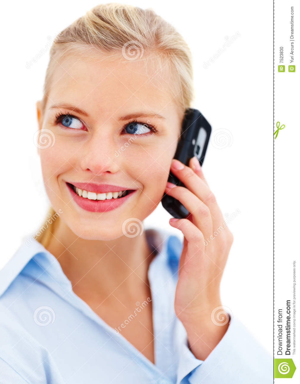 Young Happy Smiling African American Black Teen Girl With: Happy Young Lady Talking On Mobile Phone Stock Photo