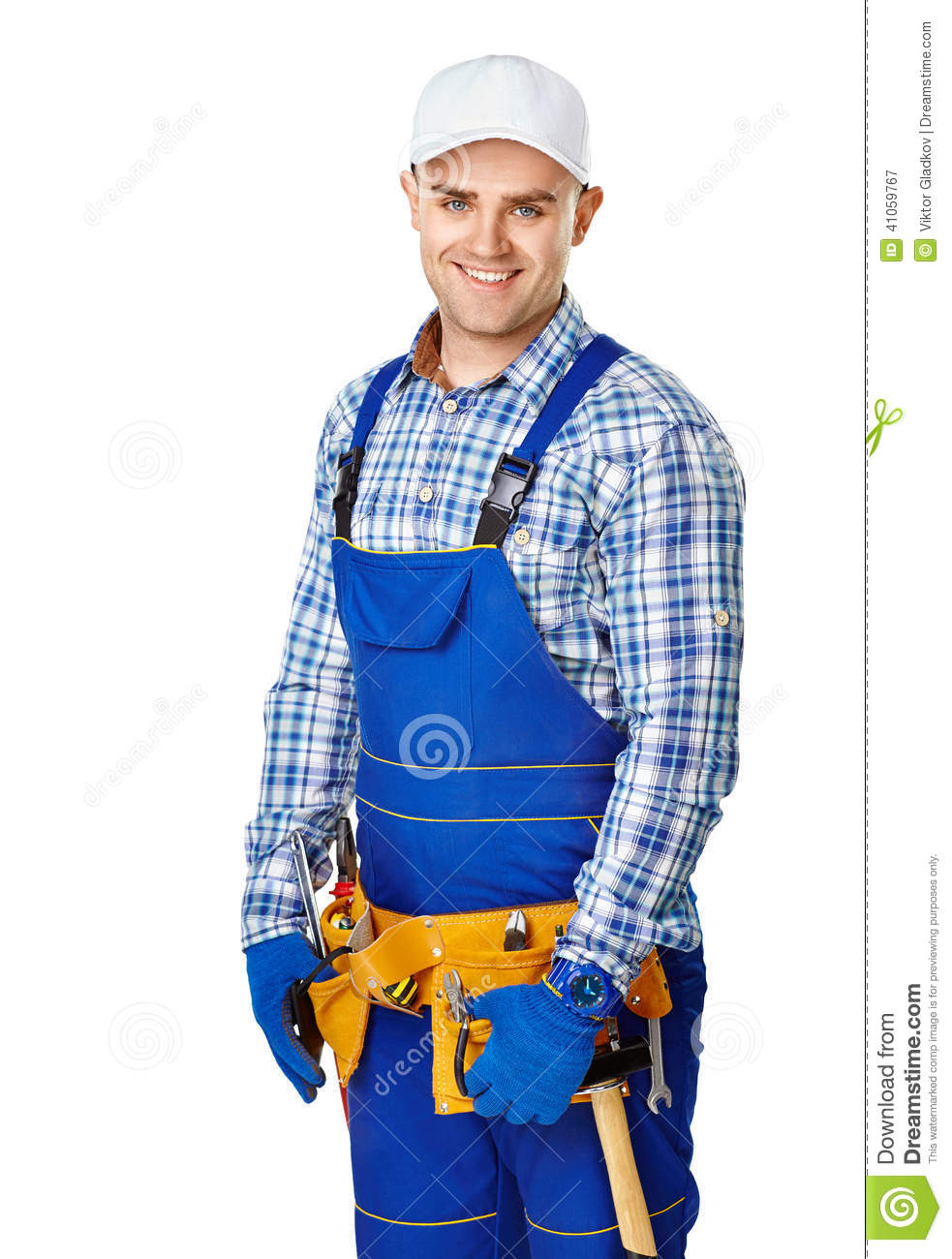 Happy young male construction worker